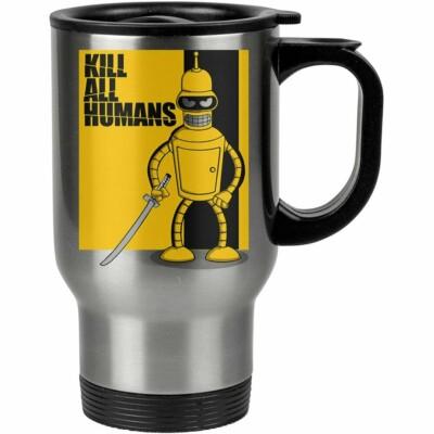 Caneca Térmica Futurama Kill All Humans 500ml Inox
