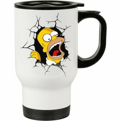 Caneca Térmica Homer Simpson Quebrando Tudo 500ml Branca