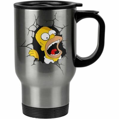 Caneca Térmica Homer Simpson Quebrando Tudo 500ml Inox
