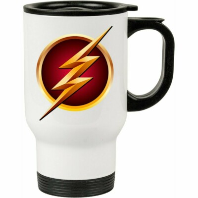 Caneca Térmica The Flash Logo V01 Branca