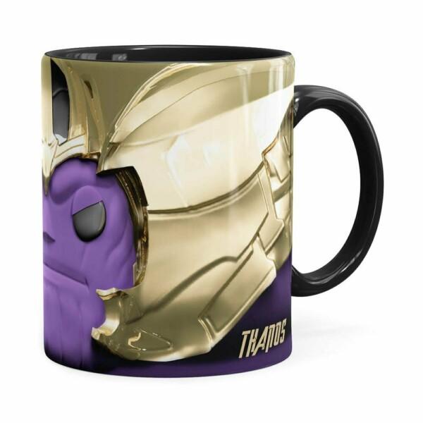 Caneca Thanos 3d Print Vingadores Preta