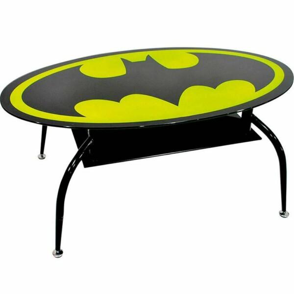 Mesa De Centro Batman Oval Metal E Vidro