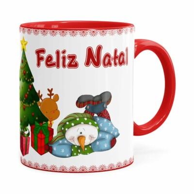 Caneca Feliz Natal Boneco De Neve Vermelha