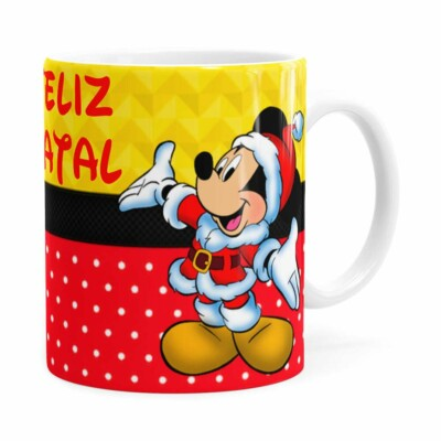 Caneca Feliz Natal Do Mickey Branca