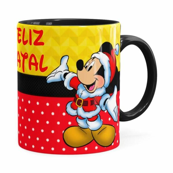 Caneca Feliz Natal Do Mickey Preta