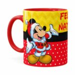 Caneca Feliz Natal Do Mickey Vermelha
