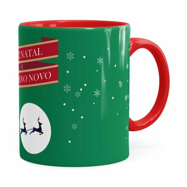 Caneca Feliz Natal Feliz Ano Novo V02 Vermelho