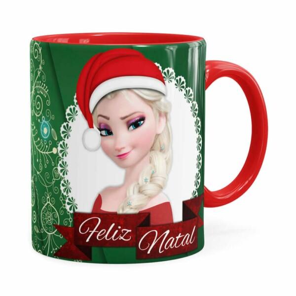 Caneca Feliz Natal Frozen Anna E Elza V01 Vermelha