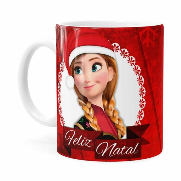 Caneca Feliz Natal Frozen Anna E Elza V02 Branca