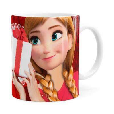 Caneca Feliz Natal Frozen Anna V01 Branca