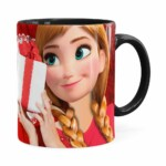 Caneca Feliz Natal Frozen Anna V01 Preta
