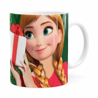 Caneca Feliz Natal Frozen Anna V02 Branca