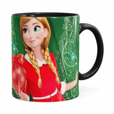 Caneca Feliz Natal Frozen Anna V03 Preta