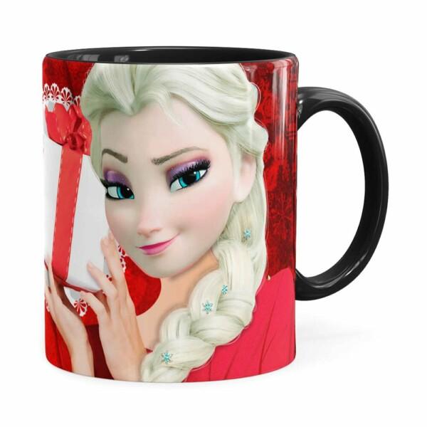 Caneca Feliz Natal Frozen Elsa V01 Preta