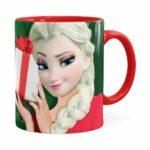 Caneca Feliz Natal Frozen Elsa V02 Vermelha