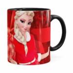 Caneca Feliz Natal Frozen Elsa V03 Preta
