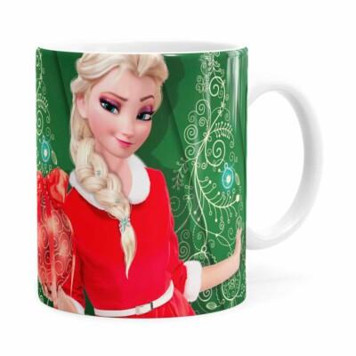 Caneca Feliz Natal Frozen Elsa V04 Branca
