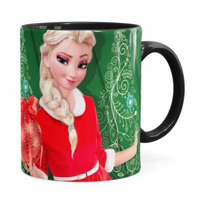 Caneca Feliz Natal Frozen Elsa V04 Preta