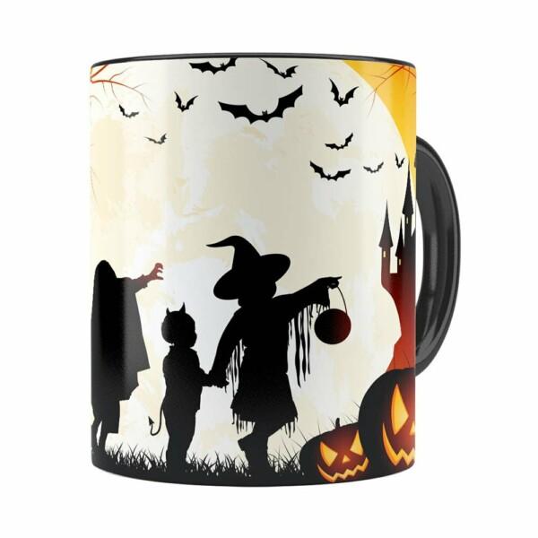 Caneca Halloween Dia Das Bruxas V03 Preta