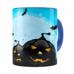 Caneca Halloween Dia Das Bruxas V05 Azul Escuro