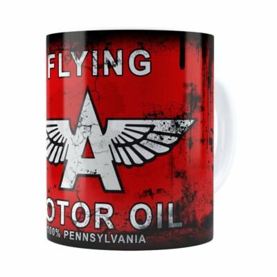 Caneca Lata De Óleo Retrô Oil Flying Branca