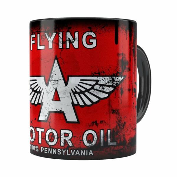 Caneca Lata De Óleo Retrô Oil Flying Preta