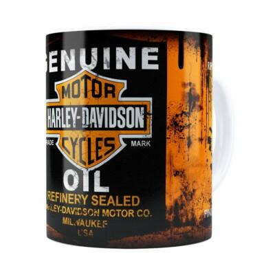 Caneca Lata De Óleo Retrô Oil Harley Davidson Branca