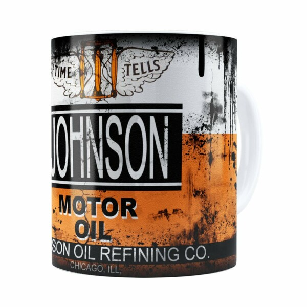 Caneca Lata De Óleo Retrô Oil Johnson Branca