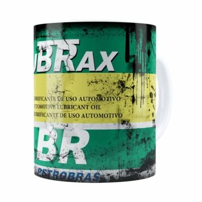 Caneca Lata de Óleo Retrô Oil Lubrax v02 Branca