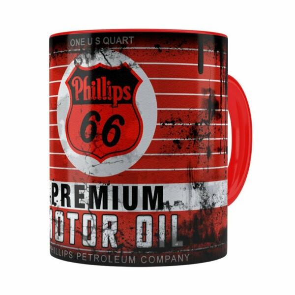 Caneca Lata De Óleo Retrô Oil Phillips Vermelha