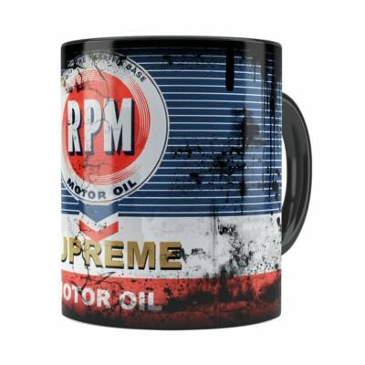 Caneca Lata De Óleo Retrô Oil Rpm Preta