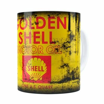 Caneca Lata De Óleo Retrô Oil Shell Branca