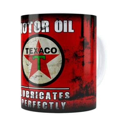 Caneca Lata De Óleo Retrô Oil Texaco Branca
