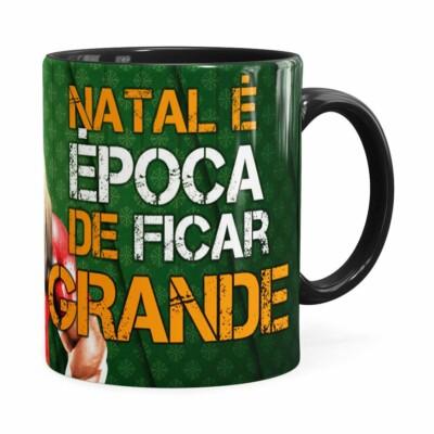 Caneca Natal Fitness Época De Ficar Grande V02 Preta
