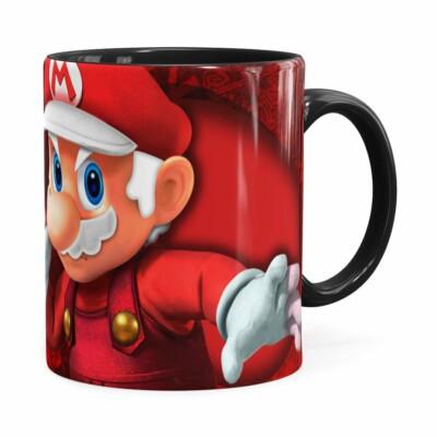 Caneca Natal Mario Bros Its Me Mario Noel V01 Preta