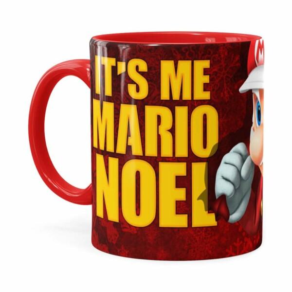 Caneca Natal Mario Bros Its Me Mario Noel V01 Vermelha