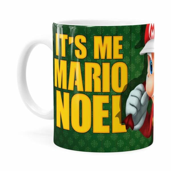 Caneca Natal Mario Bros Its Me Mario Noel V02 Branca