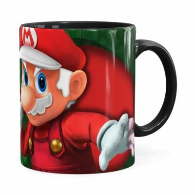 Caneca Natal Mario Bros Its Me Mario Noel V02 Preta