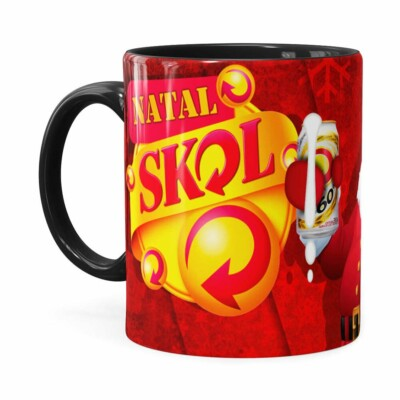 Caneca Natal Skol V02 Preta