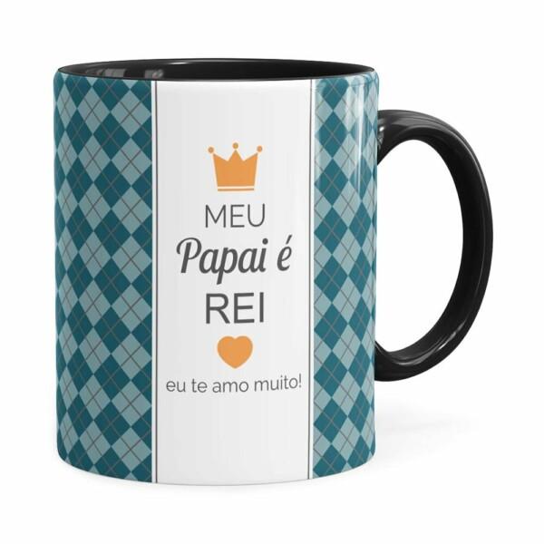 Caneca Personalizada Papai é Rei Com Foto Preta