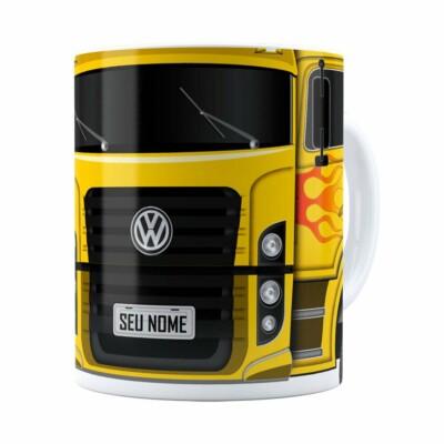 Caneca Personalizada Truck Amarelo V01 Com Nome Branca