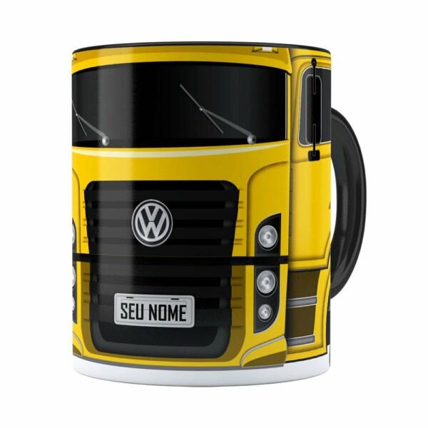 Caneca Personalizada Truck Amarelo V02 Com Nome Preta