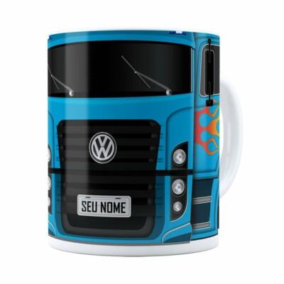 Caneca Personalizada Truck Azul V01 Com Nome Branca