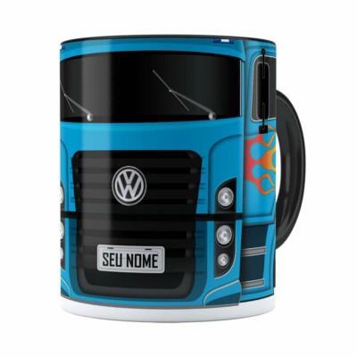 Caneca Personalizada Truck Azul V01 Com Nome Preta