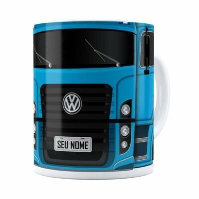 Caneca Personalizada Truck Azul V02 Com Nome Branca