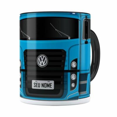 Caneca Personalizada Truck Azul V02 Com Nome Preta