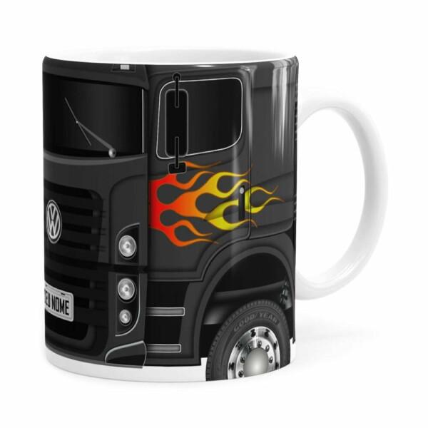 Caneca Personalizada Truck Cinza Escuro V01 Com Nome Branca