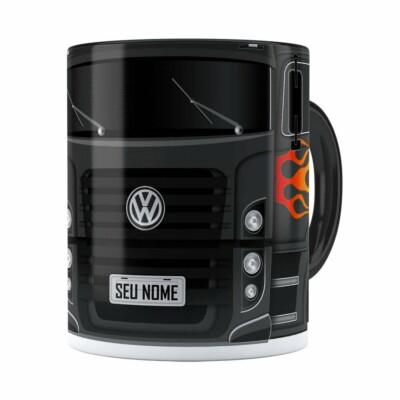 Caneca Personalizada Truck Cinza Escuro V01 Com Nome Preta