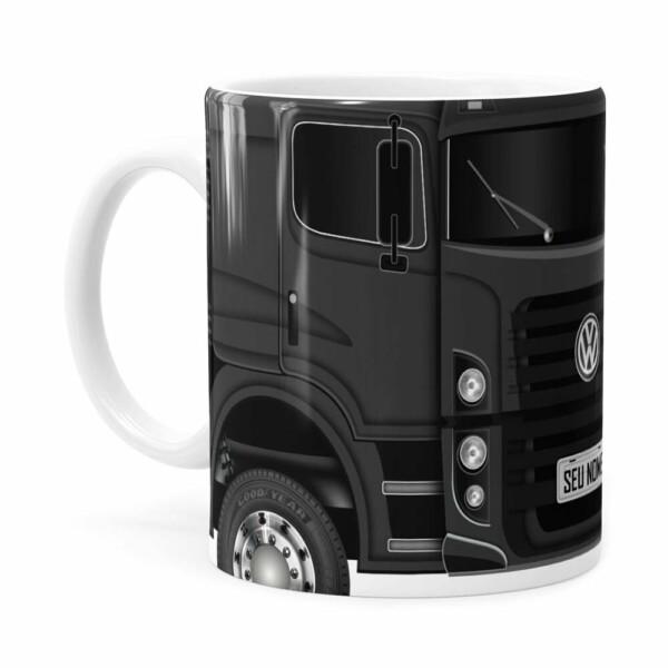 Caneca Personalizada Truck Cinza Escuro V02 Com Nome Branca