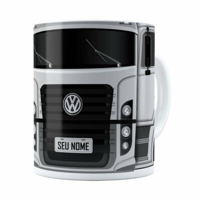 Caneca Personalizada Truck Cinza V02 Com Nome Branca